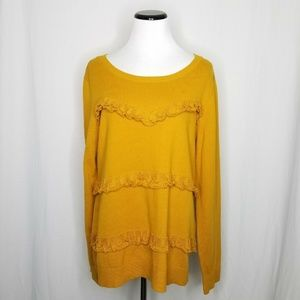 Maison Jules Crew-Neck Ruffled Sweater Yellow